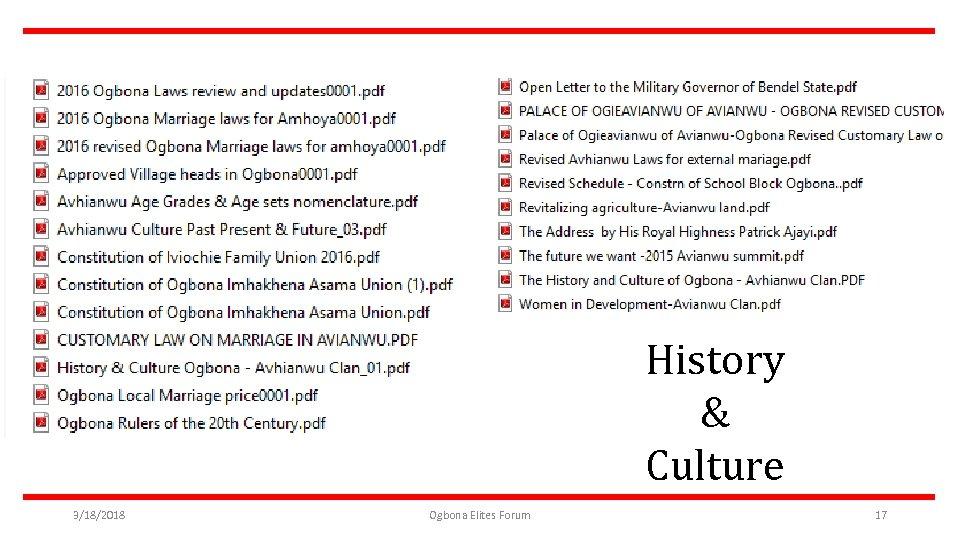 History & Culture 3/18/2018 Ogbona Elites Forum 17