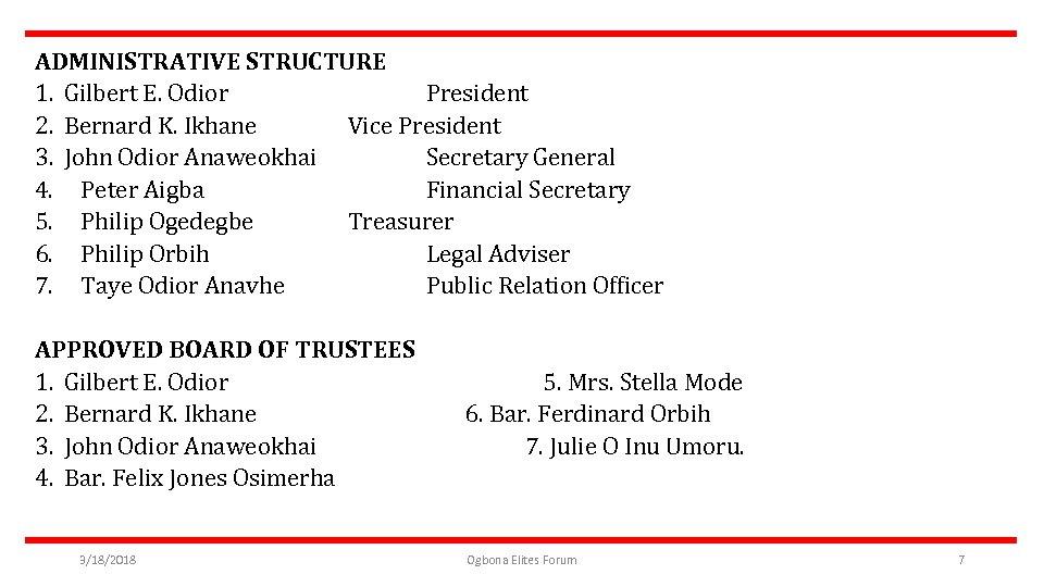 ADMINISTRATIVE STRUCTURE 1. Gilbert E. Odior President 2. Bernard K. Ikhane Vice President 3.