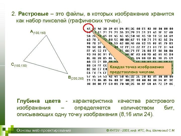 2. Растровые – это файлы, в которых изображение хранится как набор пикселей (графических точек).