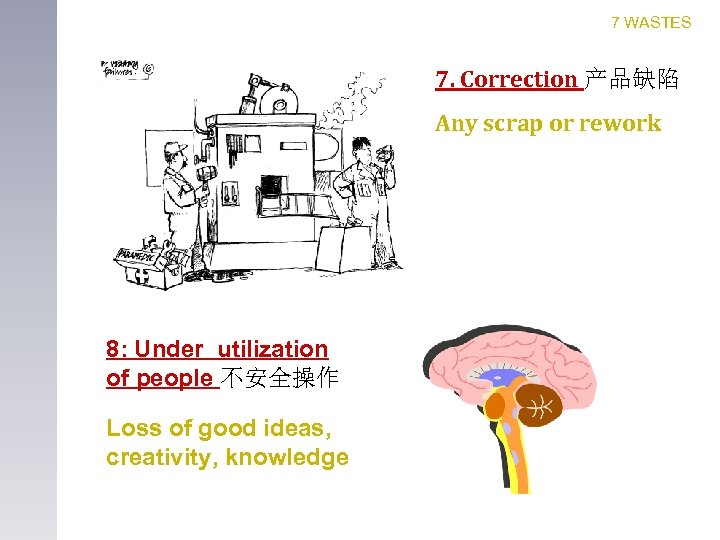 7 WASTES 7. Correction 产品缺陷 Any scrap or rework 8: Under utilization of people