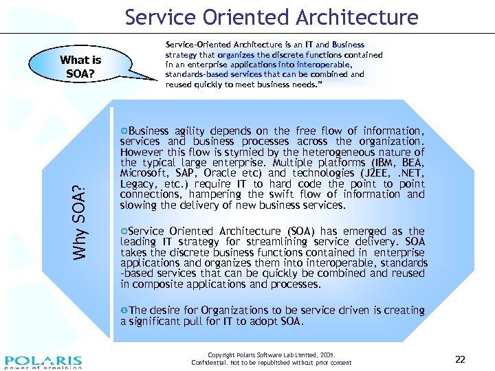 Service Oriented Architecture Why SOA? What is SOA? Service-Oriented Architecture is an IT and