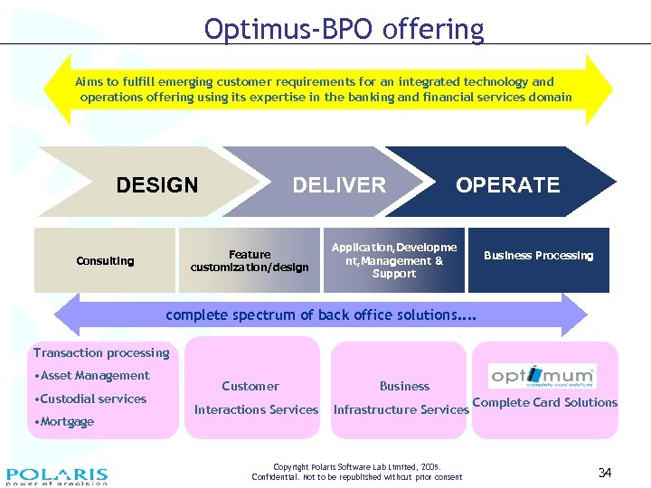 Optimus-BPO offering Aims to fulfill emerging customer requirements for an integrated technology and operations