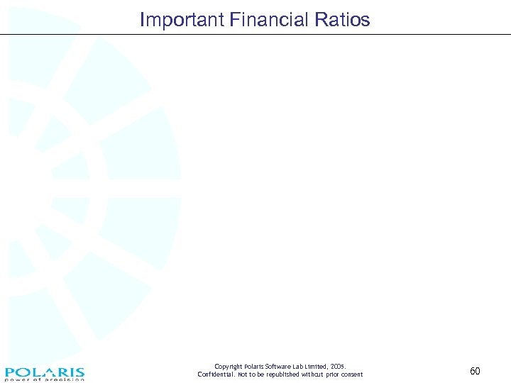 Important Financial Ratios Copyright Polaris Software Lab Limited, 2005. Confidential. Not to be republished