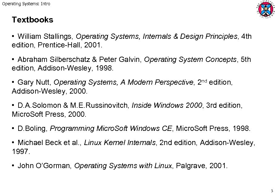 Operating Systems Intro Operating Systems Concepts And
