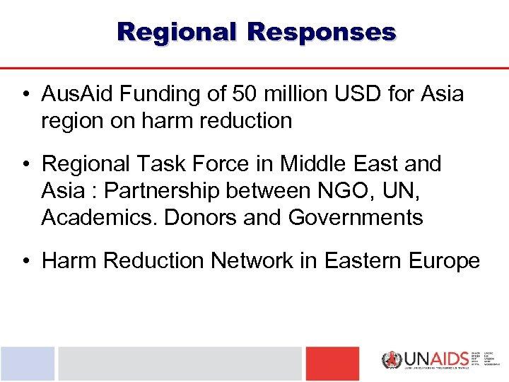Regional Responses • Aus. Aid Funding of 50 million USD for Asia region on