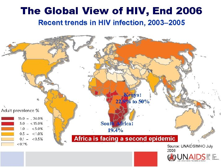 The Global View of HIV, End 2006 Recent trends in HIV infection, 2003– 2005