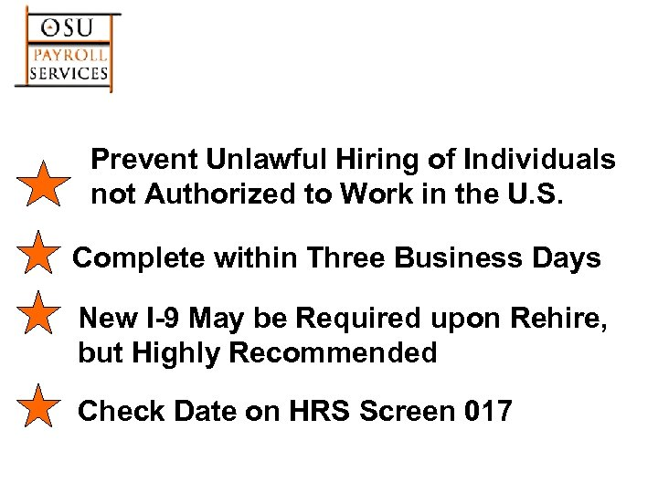 Prevent Unlawful Hiring of Individuals not Authorized to Work in the U. S. Complete