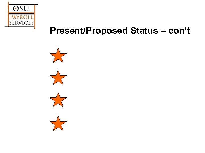 Present/Proposed Status – con't