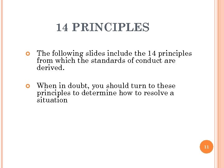 14 PRINCIPLES The following slides include the 14 principles from which the standards of