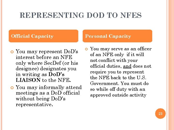 REPRESENTING DOD TO NFES Official Capacity You may represent Do. D's interest before an