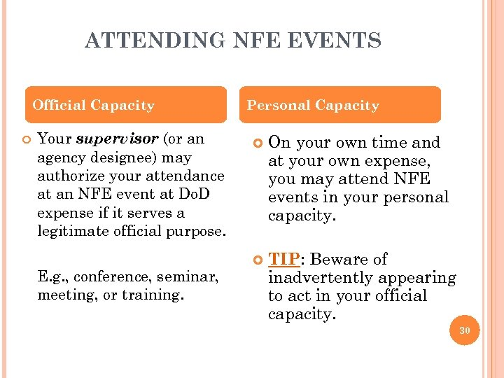 ATTENDING NFE EVENTS Official Capacity Your supervisor (or an agency designee) may authorize your