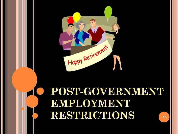 POST-GOVERNMENT EMPLOYMENT RESTRICTIONS 56