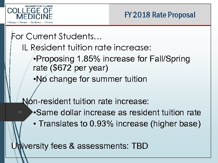FY 2018 Rate Proposal For Current Students… IL Resident tuition rate increase: • Proposing