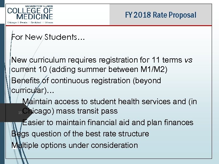 FY 2018 Rate Proposal For New Students… New curriculum requires registration for 11 terms