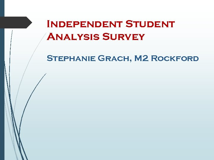 Independent Student Analysis Survey Stephanie Grach, M 2 Rockford