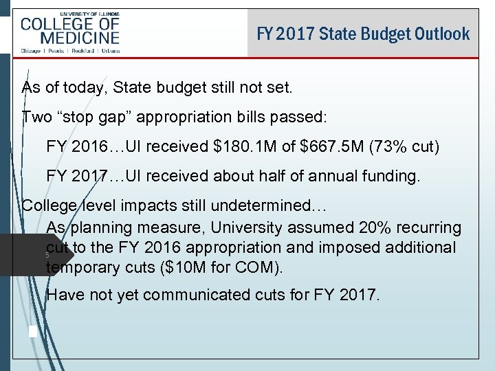 FY 2017 State Budget Outlook As of today, State budget still not set. Two