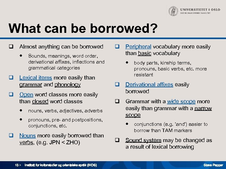 What can be borrowed? q Almost anything can be borrowed ● q q Sounds,