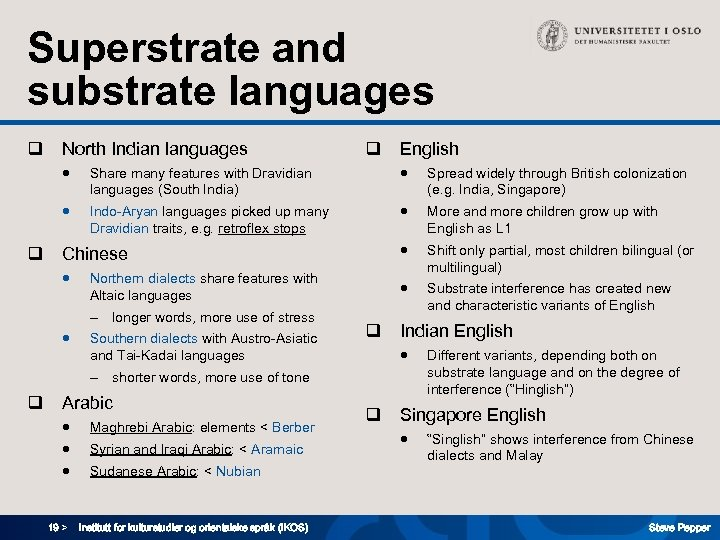 Superstrate and substrate languages q North Indian languages q English ● ● Spread widely