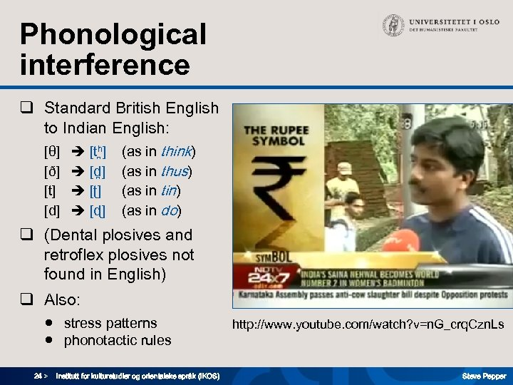 Phonological interference q Standard British English to Indian English: [θ] [ð] [t] [d] [th