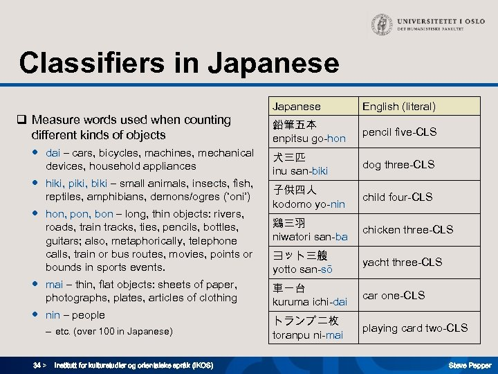 Classifiers in Japanese q Measure words used when counting different kinds of objects ●