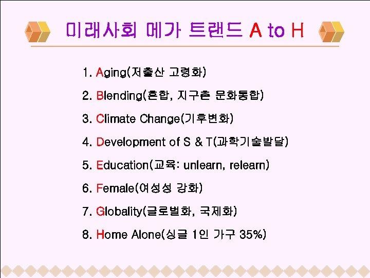 미래사회 메가 트랜드 A to H 1. Aging(저출산 고령화) 2. Blending(혼합, 지구촌 문화통합) 3.