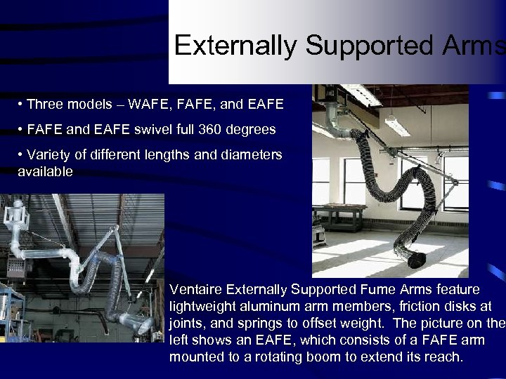 Externally Supported Arms • Three models – WAFE, FAFE, and EAFE • FAFE and