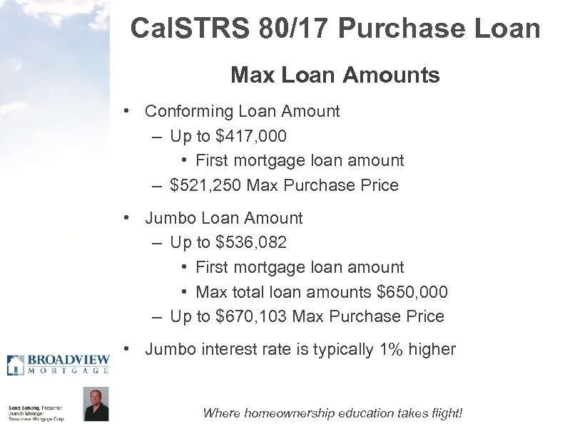 Cal. STRS 80/17 Purchase Loan Max Loan Amounts • Conforming Loan Amount – Up