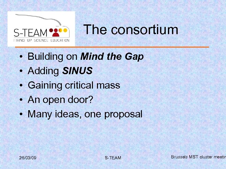 The consortium • • • Building on Mind the Gap Adding SINUS Gaining critical