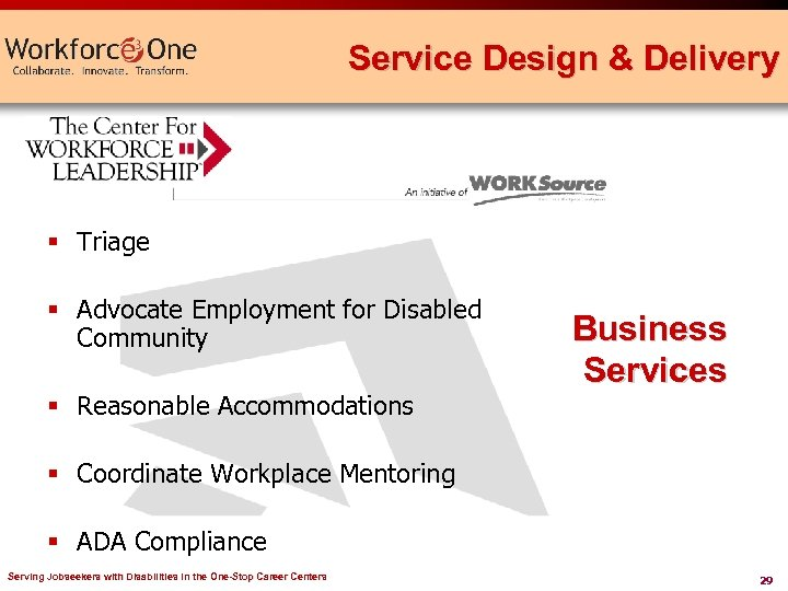 Service Design & Delivery § Triage § Advocate Employment for Disabled Community § Reasonable