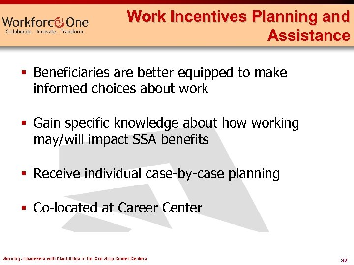 Work Incentives Planning and Assistance § Beneficiaries are better equipped to make informed choices