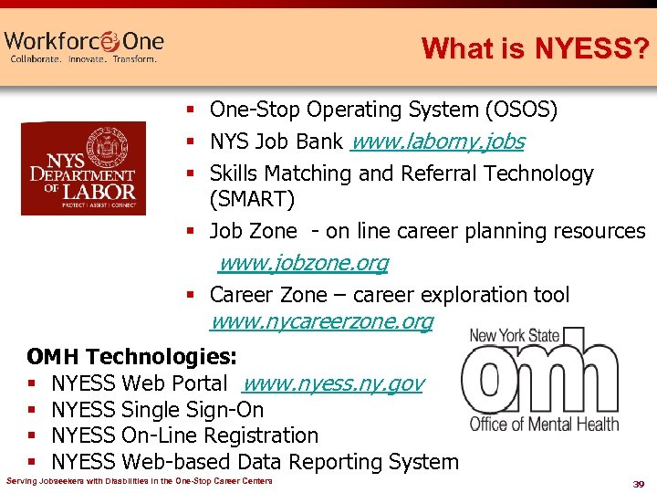 What is NYESS? § One-Stop Operating System (OSOS) § NYS Job Bank www. laborny.