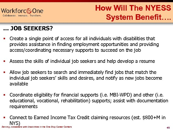 How Will The NYESS System Benefit…. … JOB SEEKERS? § Create a single point