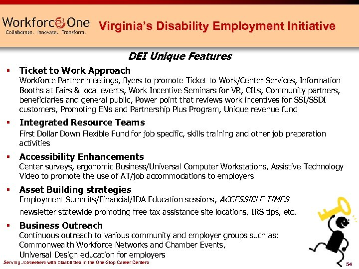 Virginia's Disability Employment Initiative DEI Unique Features § Ticket to Work Approach § Integrated