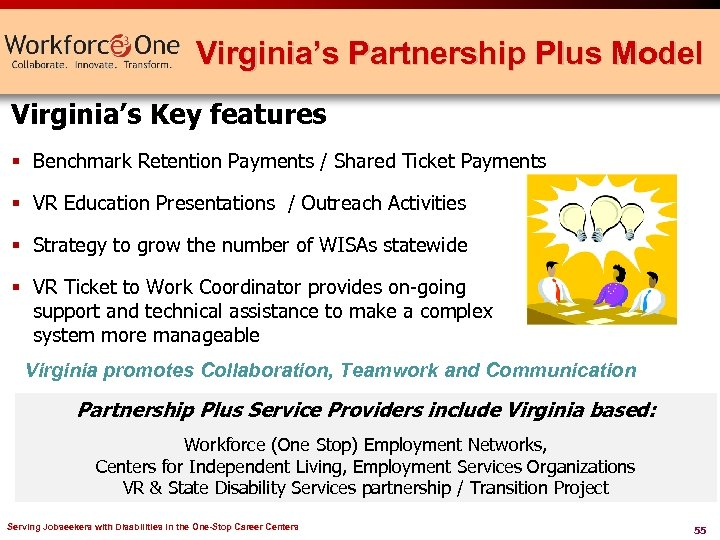 Virginia's Partnership Plus Model Virginia's Key features § Benchmark Retention Payments / Shared Ticket