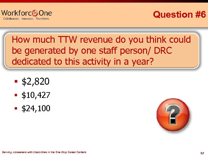 Question #6 How much TTW revenue do you think could be generated by one