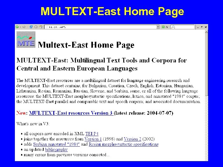MULTEXT-East Home Page