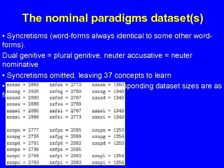 The nominal paradigms dataset(s) • Syncretisms (word-forms always identical to some other wordforms). Dual