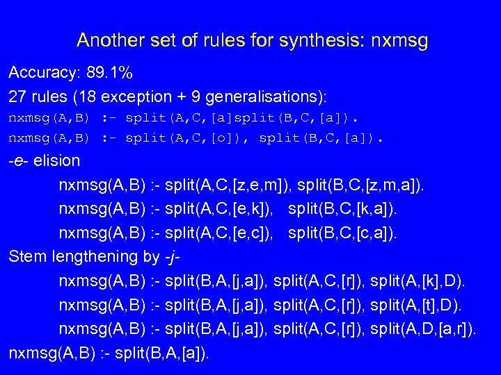 Another set of rules for synthesis: nxmsg Accuracy: 89. 1% 27 rules (18 exception