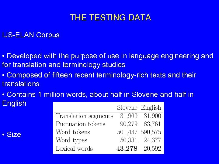 THE TESTING DATA IJS-ELAN Corpus • Developed with the purpose of use in language