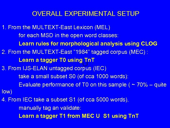 OVERALL EXPERIMENTAL SETUP 1. From the MULTEXT-East Lexicon (MEL) for each MSD in the
