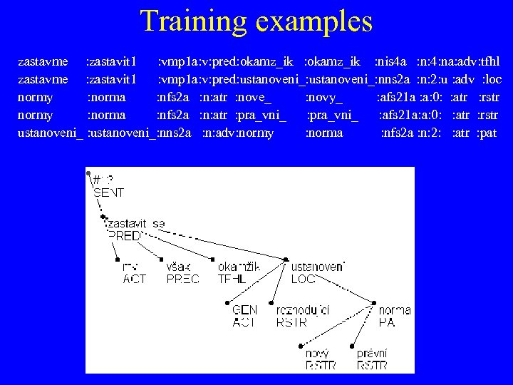 Training examples zastavme : zastavit 1 : vmp 1 a: v: pred: okamz_ik :