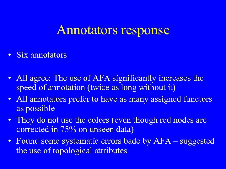 Annotators response • Six annotators • All agree: The use of AFA significantly increases