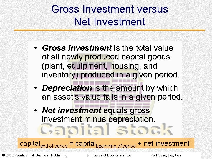 Gross Investment versus Net Investment • Gross investment is the total value of all