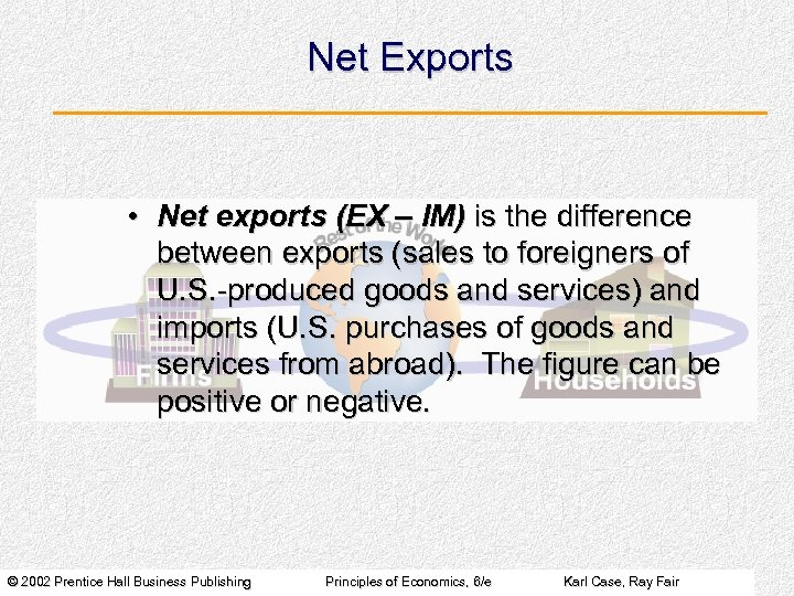 Net Exports • Net exports (EX – IM) is the difference between exports (sales
