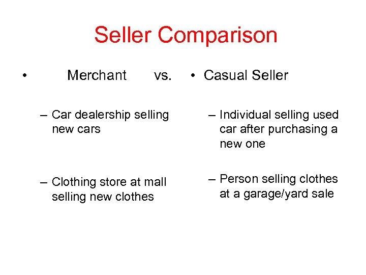 Seller Comparison • Merchant vs. • Casual Seller – Car dealership selling new