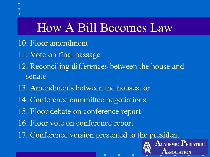 How A Bill Becomes Law 10. Floor amendment 11. Vote on final passage 12.