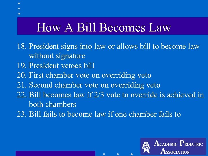 How A Bill Becomes Law 18. President signs into law or allows bill to