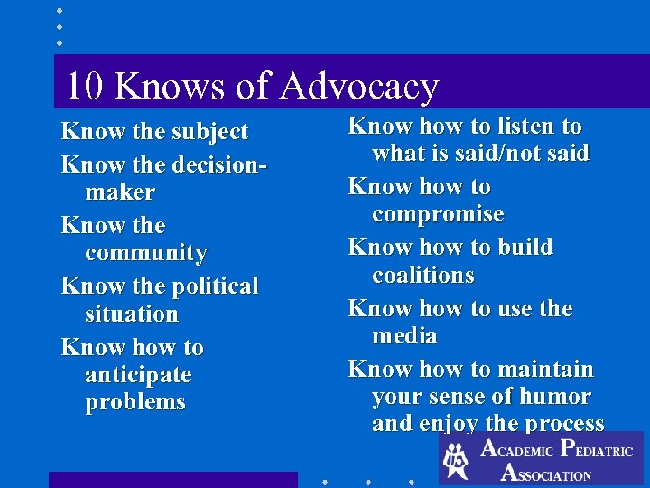 10 Knows of Advocacy Know the subject Know the decisionmaker Know the community Know