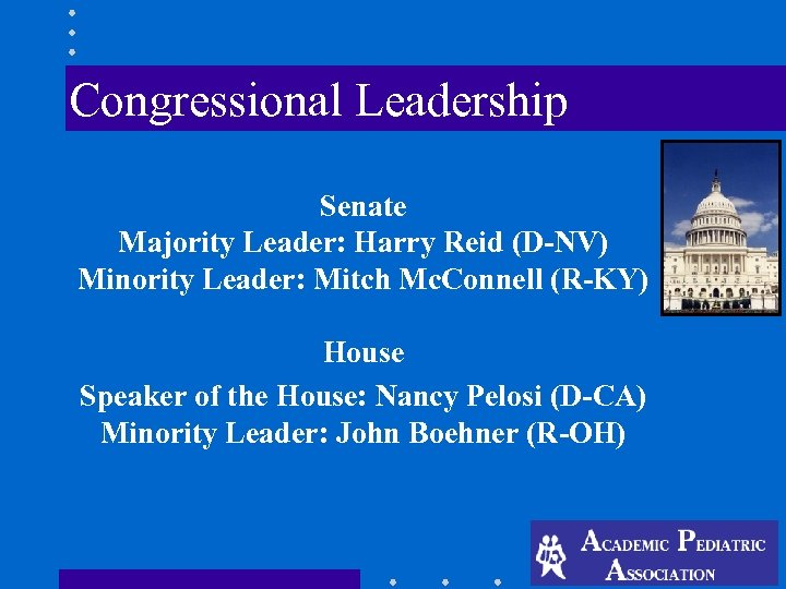 Congressional Leadership Senate Majority Leader: Harry Reid (D-NV) Minority Leader: Mitch Mc. Connell
