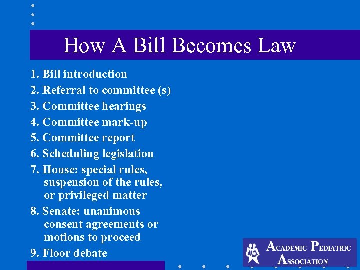 How A Bill Becomes Law 1. Bill introduction 2. Referral to committee (s) 3.